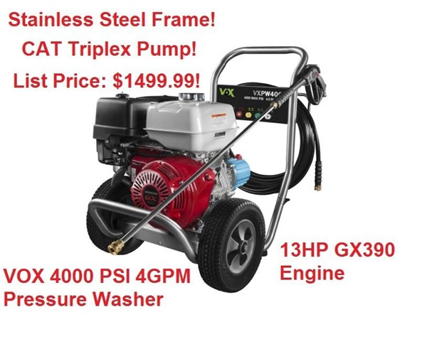 Vox 4000psi 4gpm Honda GX390 13hp Pressure Washer